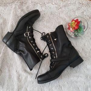 Aldo Black Genuine Leather Zipped Up Combat Boots